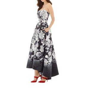 Floral Print Strapless High/Low Dress w/ pockets